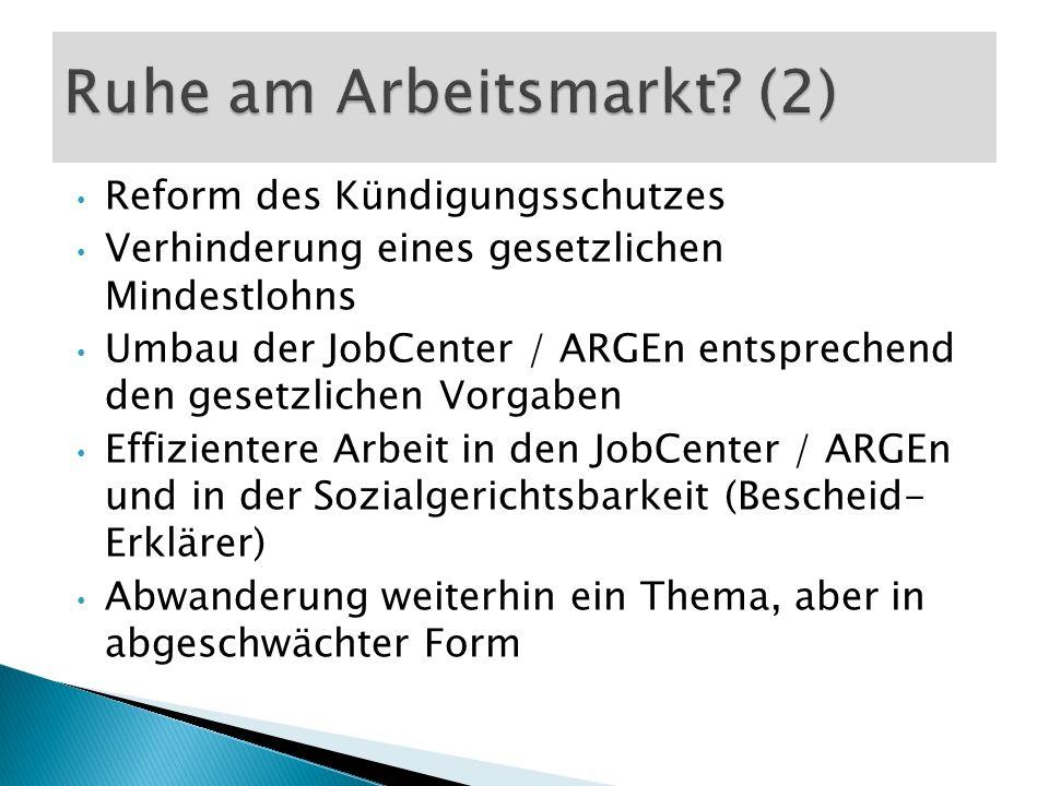 Reform des Kündigungsschutzes Verhinderung eines gesetzlichen Mindestlohns Umbau der JobCenter / ARGEn entsprechend den gesetzlichen Vorgaben Effizien