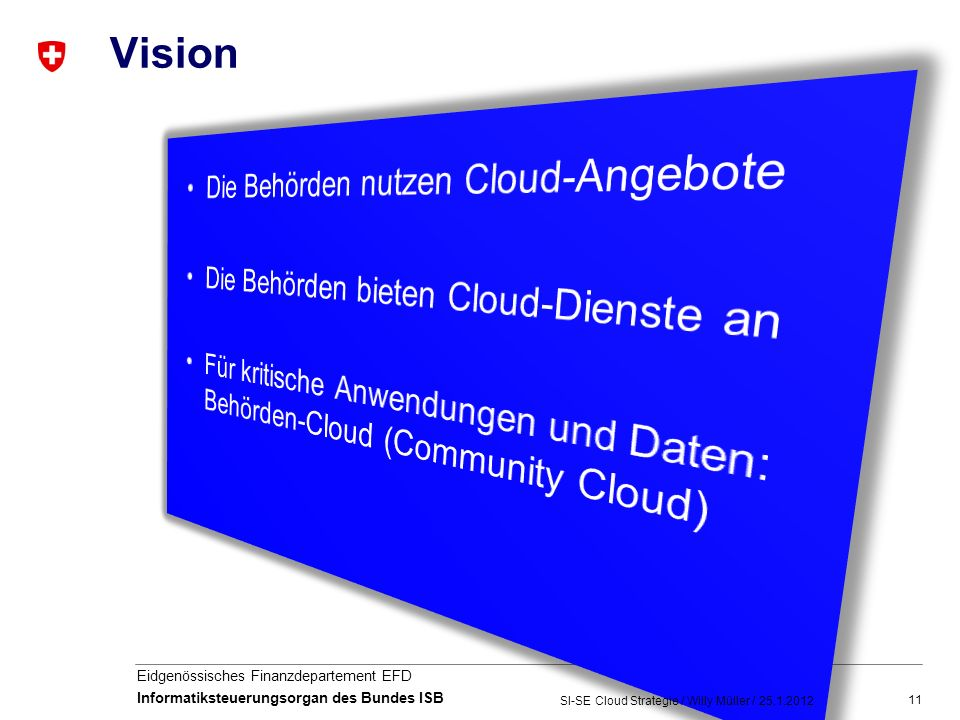 11 Eidgenössisches Finanzdepartement EFD Informatiksteuerungsorgan des Bundes ISB Vision SI-SE Cloud Strategie / Willy Müller /