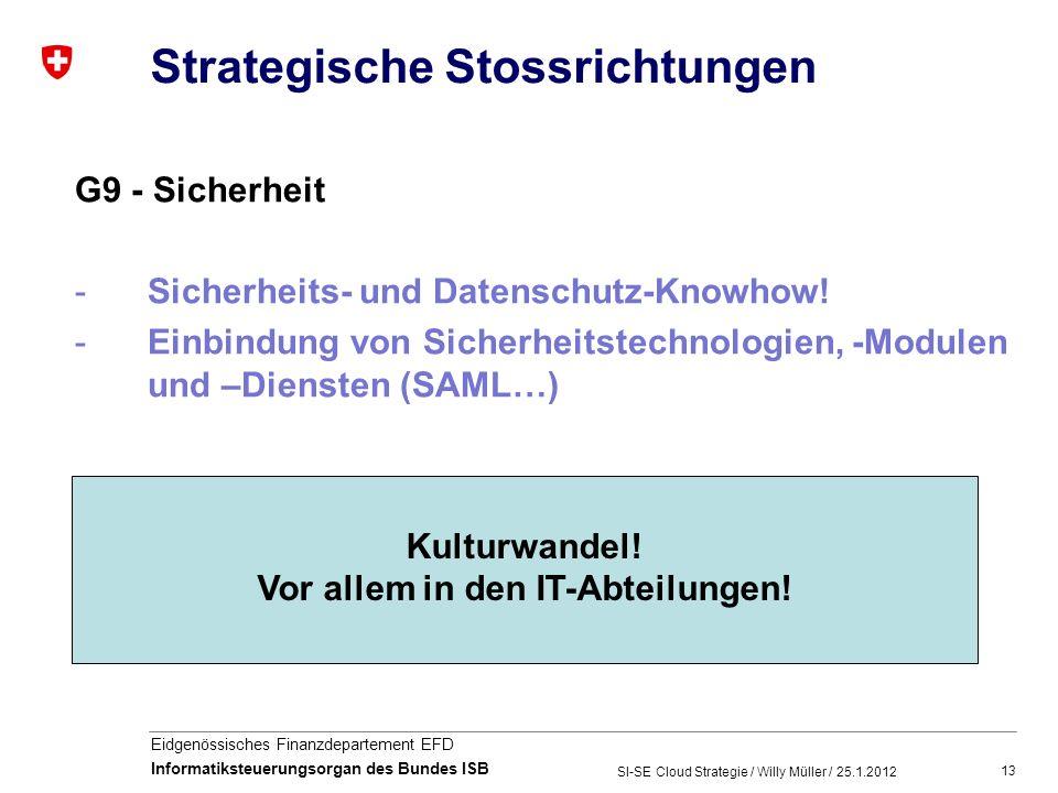 13 Eidgenössisches Finanzdepartement EFD Informatiksteuerungsorgan des Bundes ISB Strategische Stossrichtungen G9 - Sicherheit -Sicherheits- und Datenschutz-Knowhow.