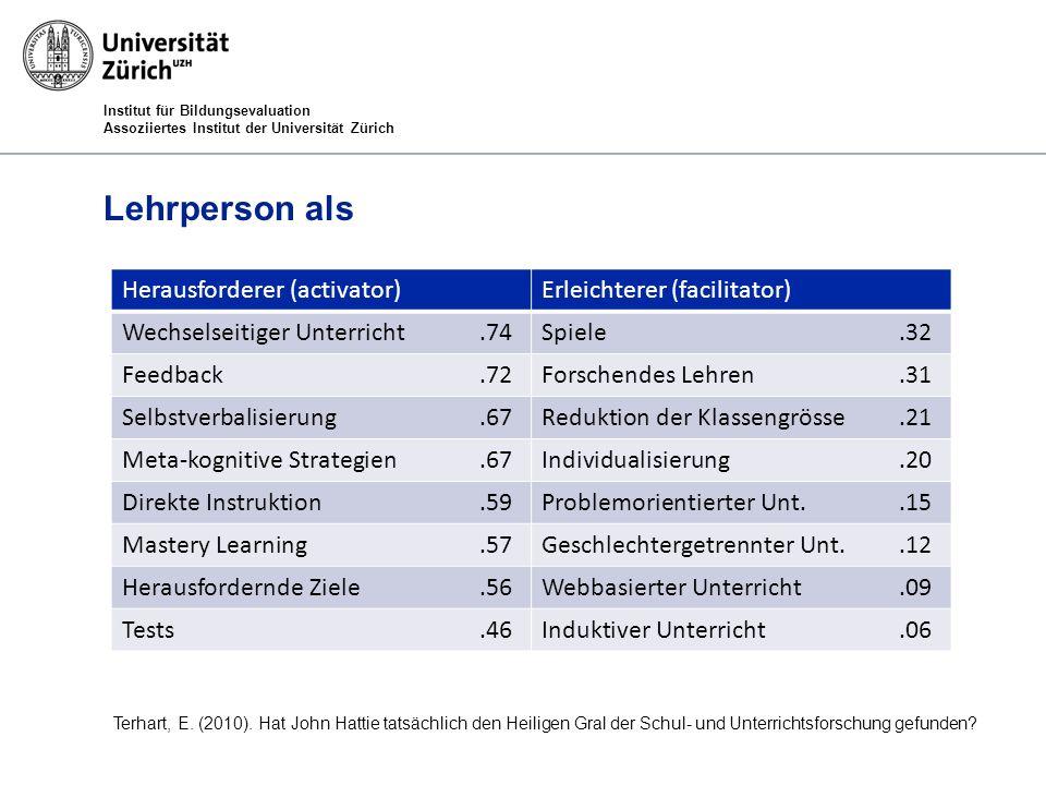 Institut für Bildungsevaluation Assoziiertes Institut der Universität Zürich Lehrperson als Herausforderer (activator)Erleichterer (facilitator) Wechs