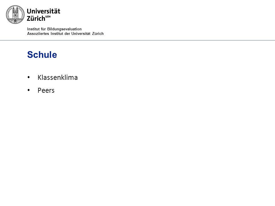 Institut für Bildungsevaluation Assoziiertes Institut der Universität Zürich Schule Klassenklima Peers