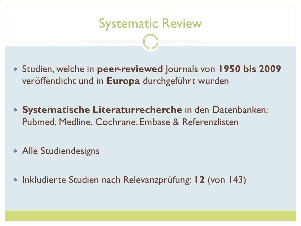 Systematic Review Studien, welche in peer-reviewed Journals von 1950 bis 2009 veröffentlicht und in Europa durchgeführt wurden Systematische Literatur