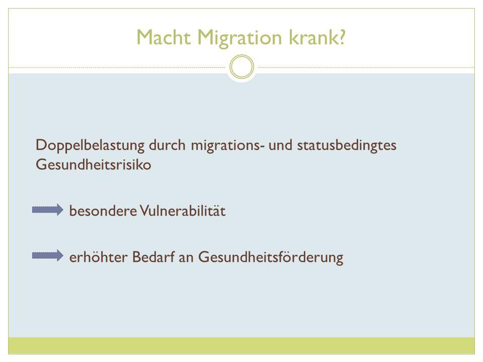Macht Migration krank? Doppelbelastung durch migrations- und statusbedingtes Gesundheitsrisiko besondere Vulnerabilität erhöhter Bedarf an Gesundheits