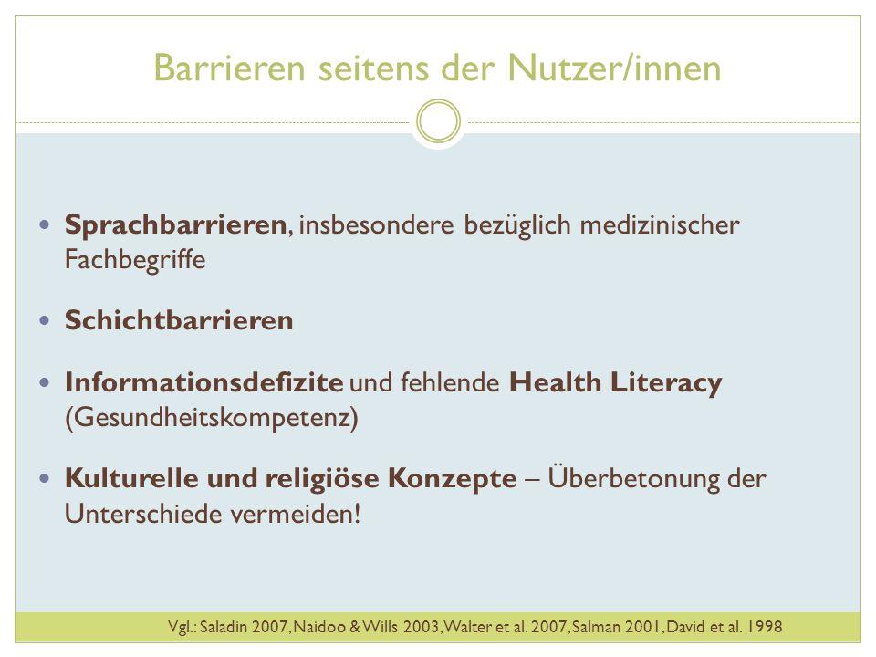 Barrieren seitens der Nutzer/innen Sprachbarrieren, insbesondere bezüglich medizinischer Fachbegriffe Schichtbarrieren Informationsdefizite und fehlen