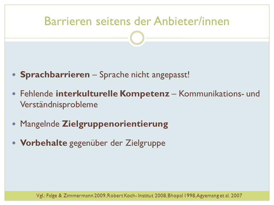 Barrieren seitens der Anbieter/innen Sprachbarrieren – Sprache nicht angepasst! Fehlende interkulturelle Kompetenz – Kommunikations- und Verständnispr