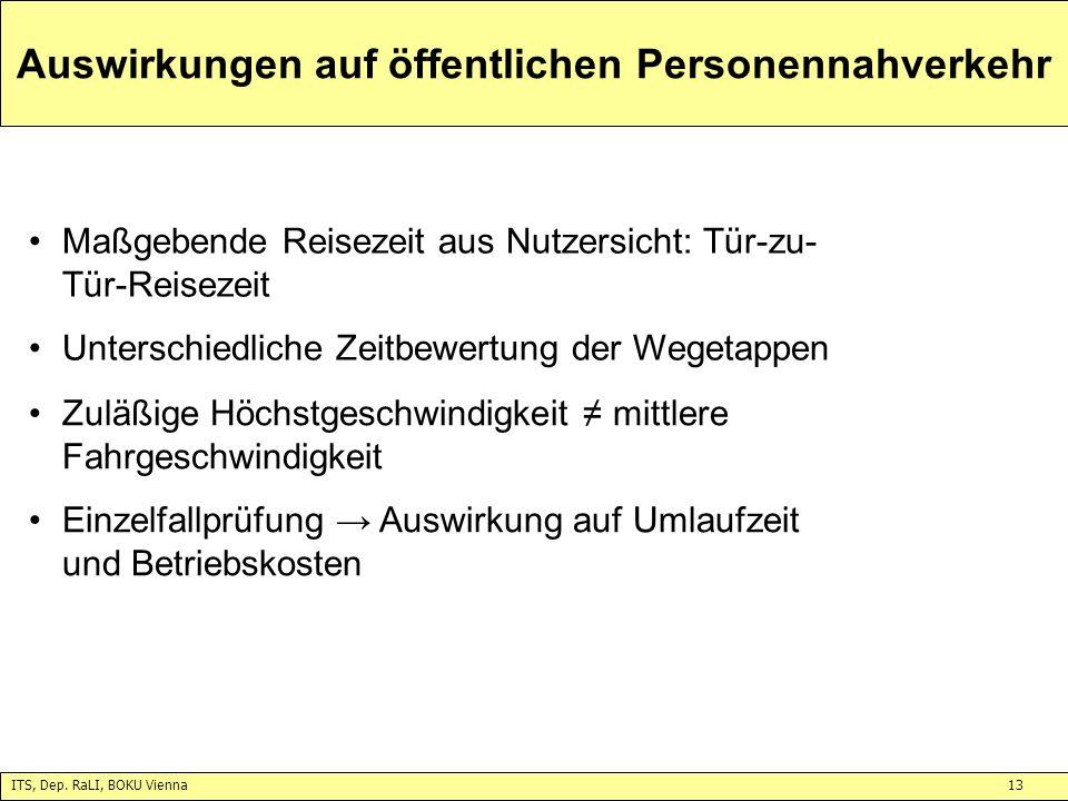 ITS, Dep. RaLI, BOKU Vienna13 Auswirkungen auf öffentlichen Personennahverkehr Maßgebende Reisezeit aus Nutzersicht: Tür-zu- Tür-Reisezeit Unterschied