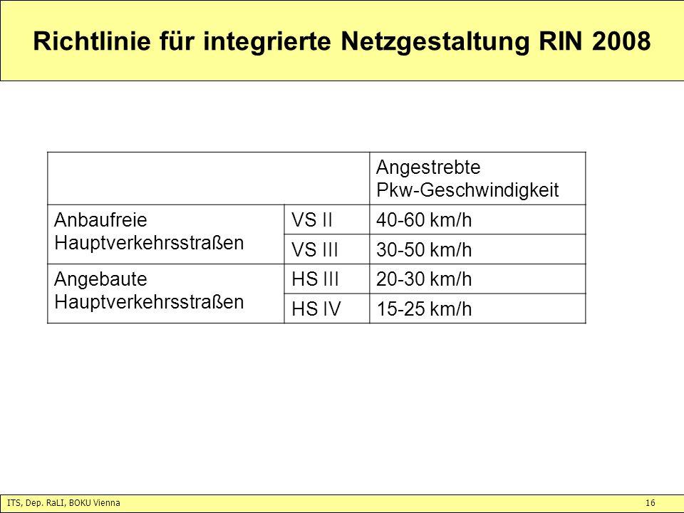 ITS, Dep. RaLI, BOKU Vienna16 Richtlinie für integrierte Netzgestaltung RIN 2008 Angestrebte Pkw-Geschwindigkeit Anbaufreie Hauptverkehrsstraßen VS II