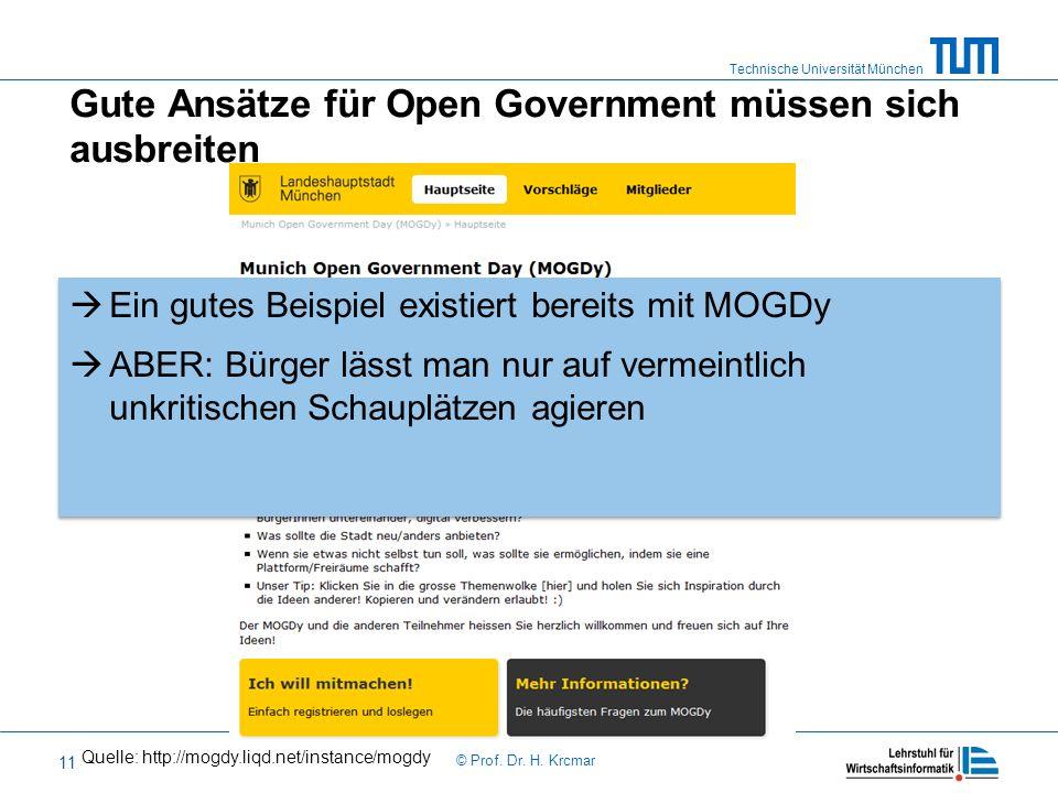 Technische Universität München © Prof. Dr. H. Krcmar 11 Gute Ansätze für Open Government müssen sich ausbreiten Ein gutes Beispiel existiert bereits m