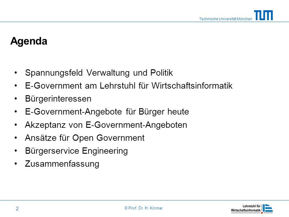 Technische Universität München © Prof. Dr. H. Krcmar 2 Agenda Spannungsfeld Verwaltung und Politik E-Government am Lehrstuhl für Wirtschaftsinformatik