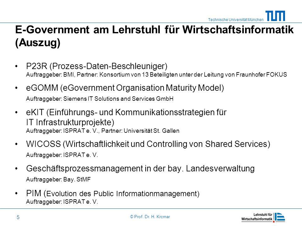 Technische Universität München © Prof. Dr. H. Krcmar 5 E-Government am Lehrstuhl für Wirtschaftsinformatik (Auszug) P23R (Prozess-Daten-Beschleuniger)