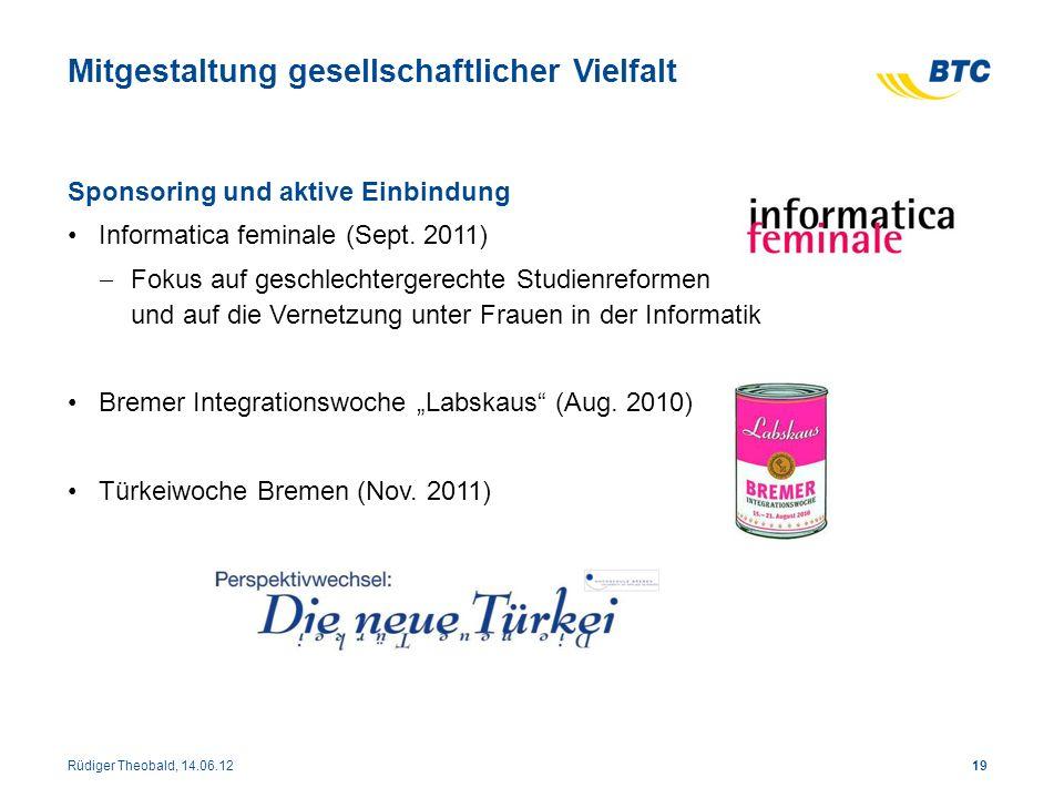 Mitgestaltung gesellschaftlicher Vielfalt Sponsoring und aktive Einbindung Informatica feminale (Sept. 2011) Fokus auf geschlechtergerechte Studienref
