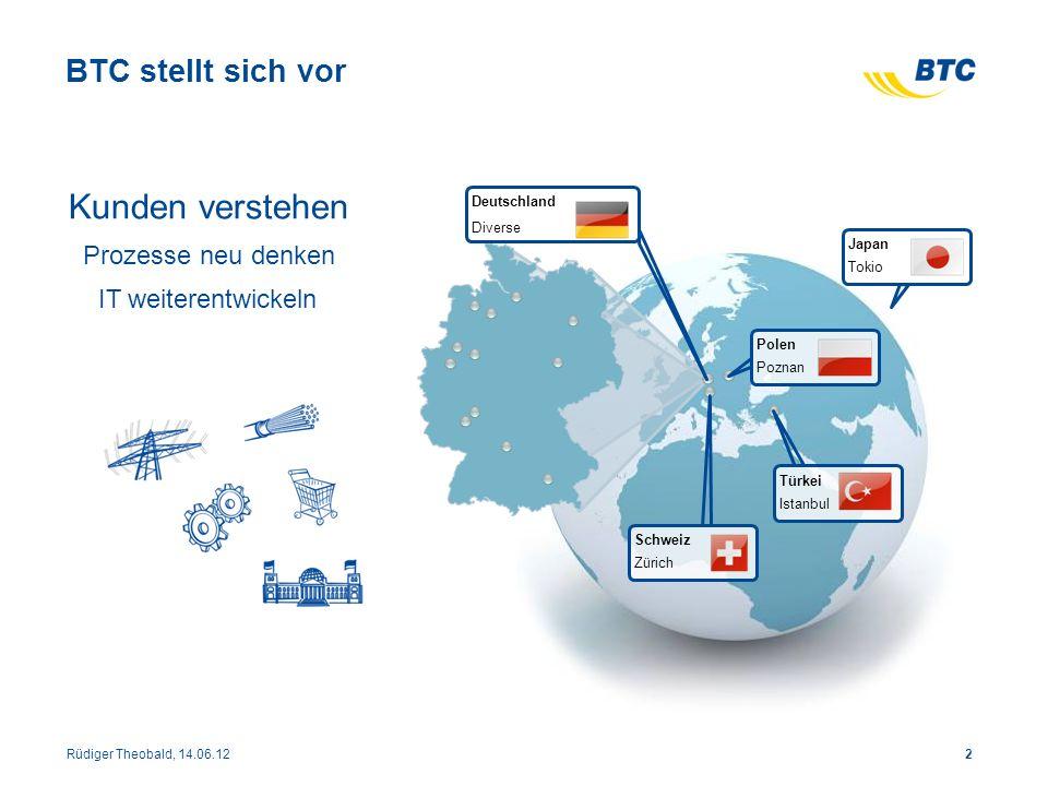 2 BTC stellt sich vor Deutschland Diverse Schweiz Zürich Türkei Istanbul Japan Tokio Polen Poznan Rüdiger Theobald, 14.06.12 Kunden verstehen Prozesse