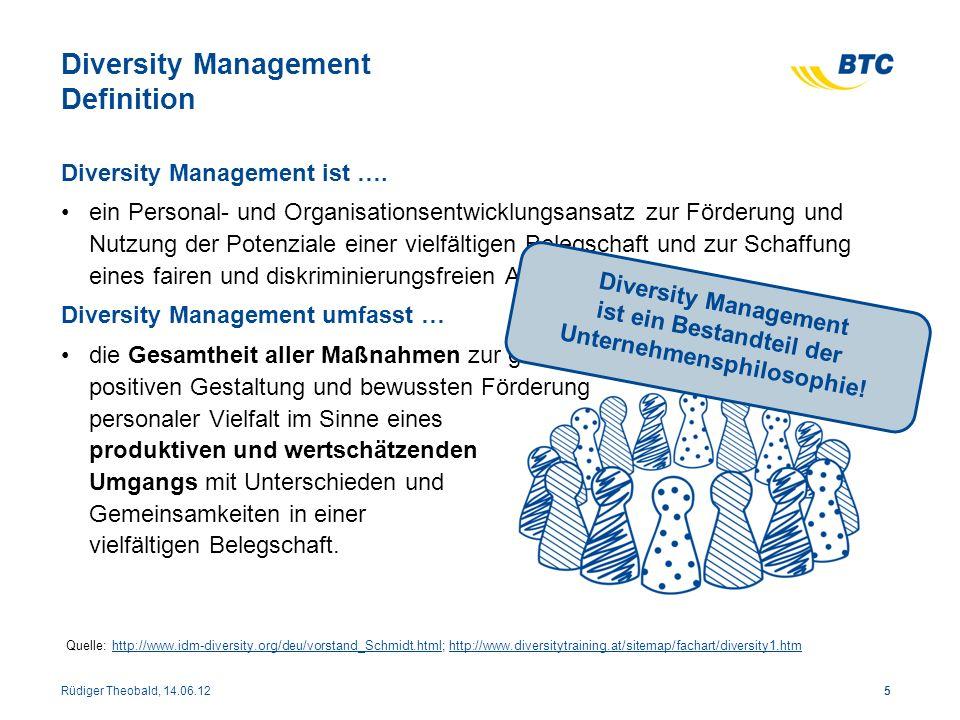 Diversity Management Definition Diversity Management ist …. ein Personal- und Organisationsentwicklungsansatz zur Förderung und Nutzung der Potenziale