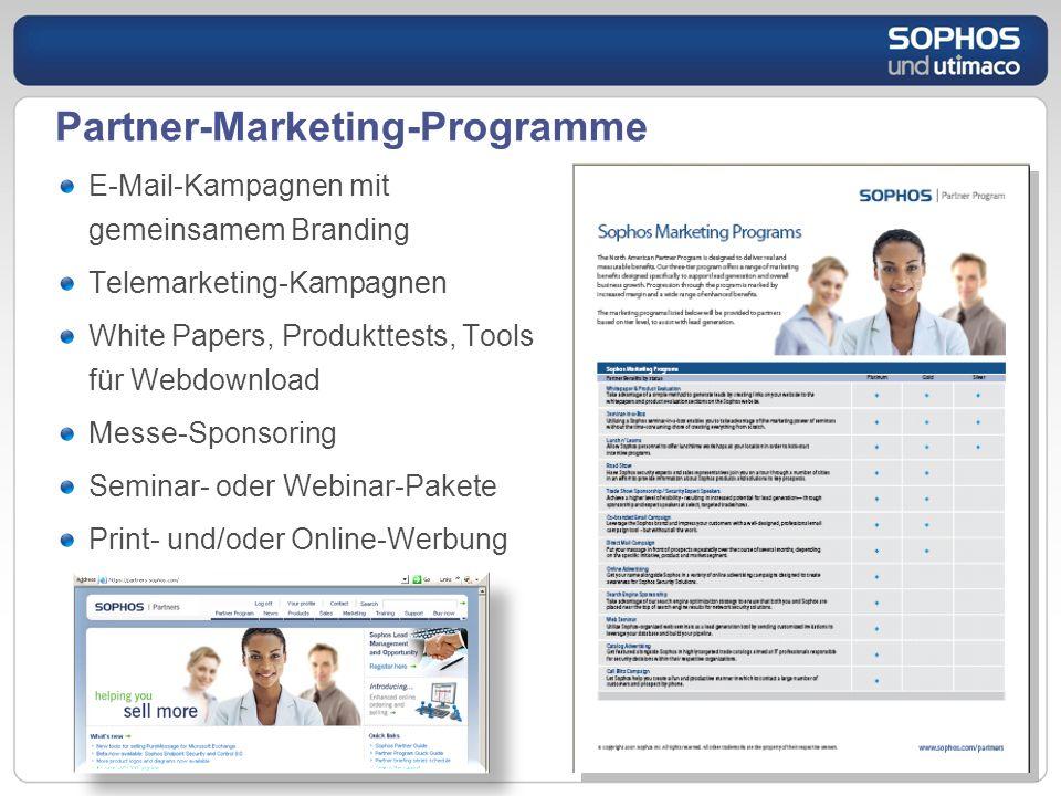 Partner-Marketing-Programme E-Mail-Kampagnen mit gemeinsamem Branding Telemarketing-Kampagnen White Papers, Produkttests, Tools für Webdownload Messe-