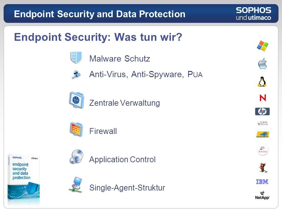 Endpoint Security: Was tun wir? Malware Schutz Anti-Virus, Anti-Spyware, P UA Zentrale Verwaltung Firewall Application Control Single-Agent-Struktur E