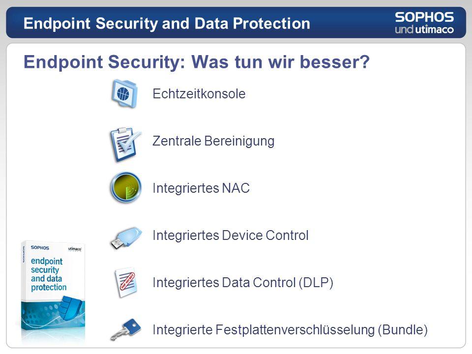 Endpoint Security: Was tun wir besser? Echtzeitkonsole Zentrale Bereinigung Integriertes NAC Integriertes Device Control Integriertes Data Control (DL