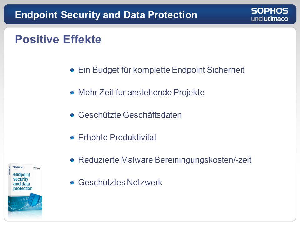 Positive Effekte Ein Budget für komplette Endpoint Sicherheit Mehr Zeit für anstehende Projekte Geschützte Geschäftsdaten Erhöhte Produktivität Reduzi