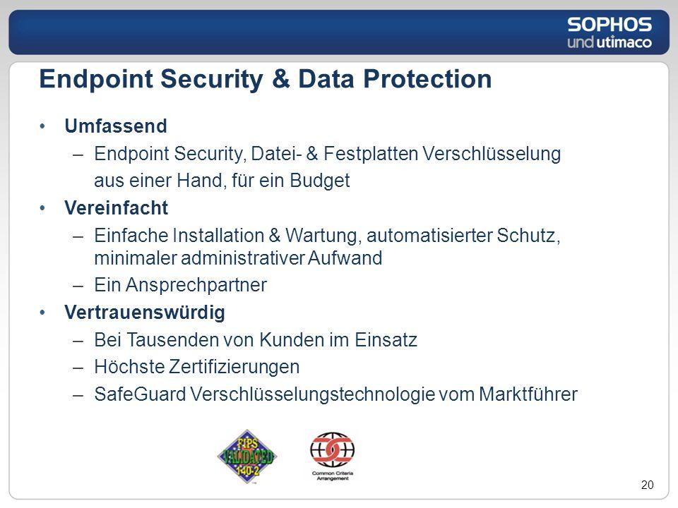 Umfassend –Endpoint Security, Datei- & Festplatten Verschlüsselung aus einer Hand, für ein Budget Vereinfacht –Einfache Installation & Wartung, automa