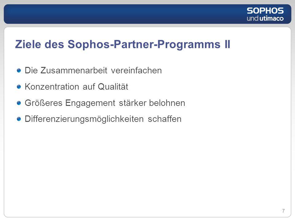 Ziele des Sophos-Partner-Programms II Die Zusammenarbeit vereinfachen Konzentration auf Qualität Größeres Engagement stärker belohnen Differenzierungs