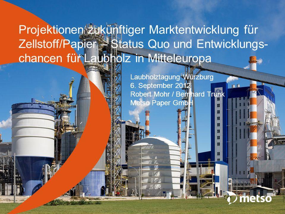Projektionen zukünftiger Marktentwicklung für Zellstoff/Papier – Status Quo und Entwicklungs- chancen für Laubholz in Mitteleuropa Laubholztagung Würz