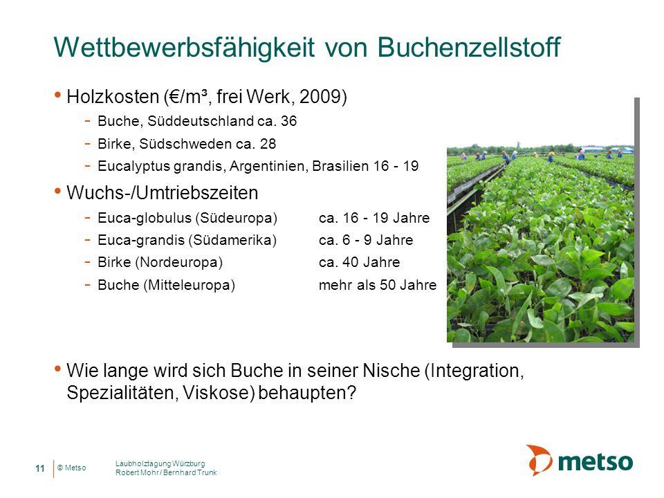 © Metso Wettbewerbsfähigkeit von Buchenzellstoff Holzkosten (/m³, frei Werk, 2009) - Buche, Süddeutschland ca. 36 - Birke, Südschweden ca. 28 - Eucaly