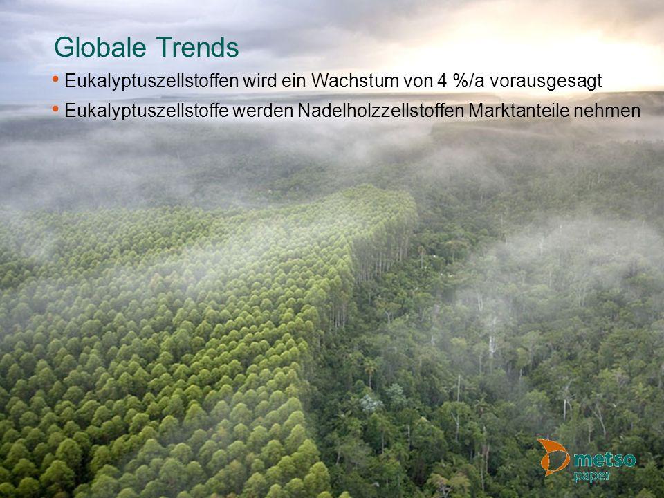 © Metso Globale Trends Eukalyptuszellstoffen wird ein Wachstum von 4 %/a vorausgesagt Eukalyptuszellstoffe werden Nadelholzzellstoffen Marktanteile ne