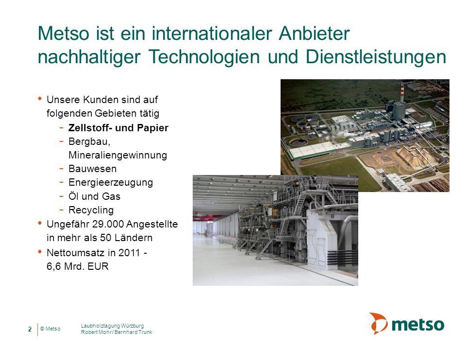 © Metso Metso ist ein internationaler Anbieter nachhaltiger Technologien und Dienstleistungen Laubholztagung Würzburg Robert Mohr / Bernhard Trunk 2 U
