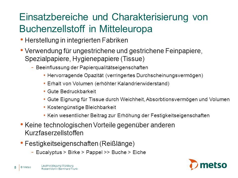 © Metso Einsatzbereiche und Charakterisierung von Buchenzellstoff in Mitteleuropa Herstellung in integrierten Fabriken Verwendung für ungestrichene un