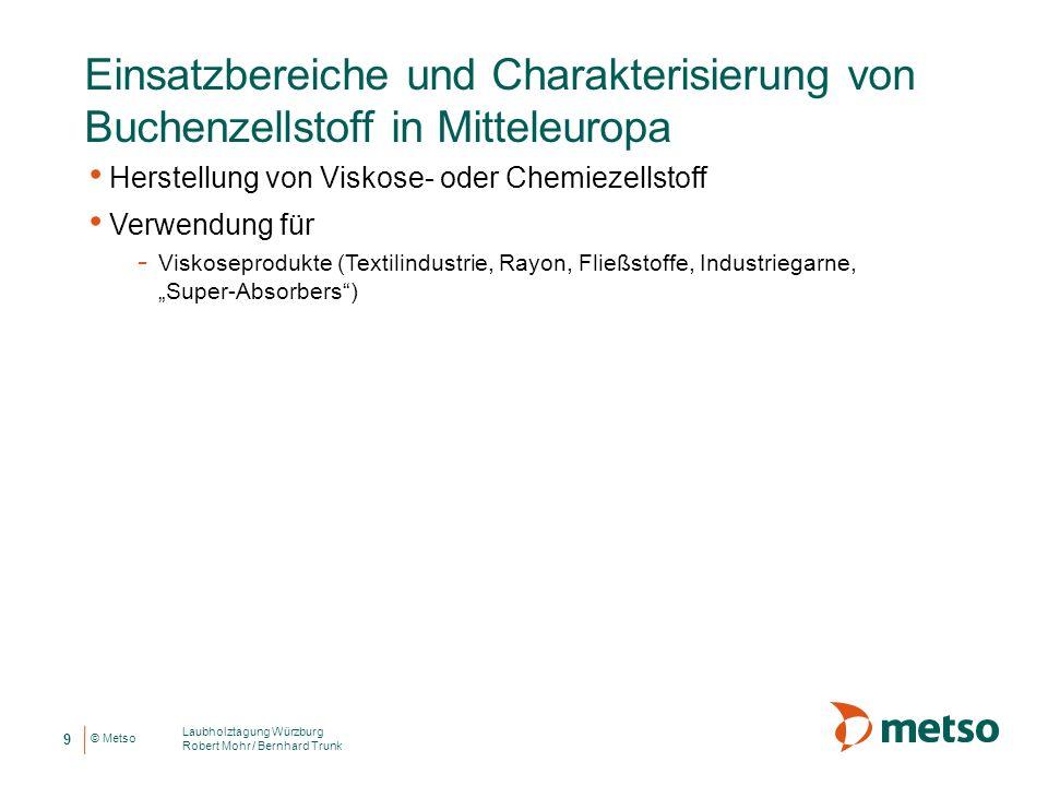 © Metso Einsatzbereiche und Charakterisierung von Buchenzellstoff in Mitteleuropa Herstellung von Viskose- oder Chemiezellstoff Verwendung für - Visko