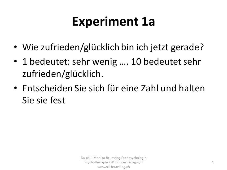 Experiment 1a Wie zufrieden/glücklich bin ich jetzt gerade.