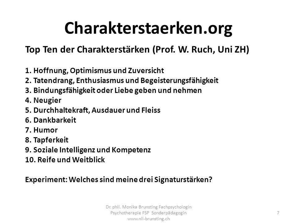 Charakterstaerken.org Top Ten der Charakterstärken (Prof.