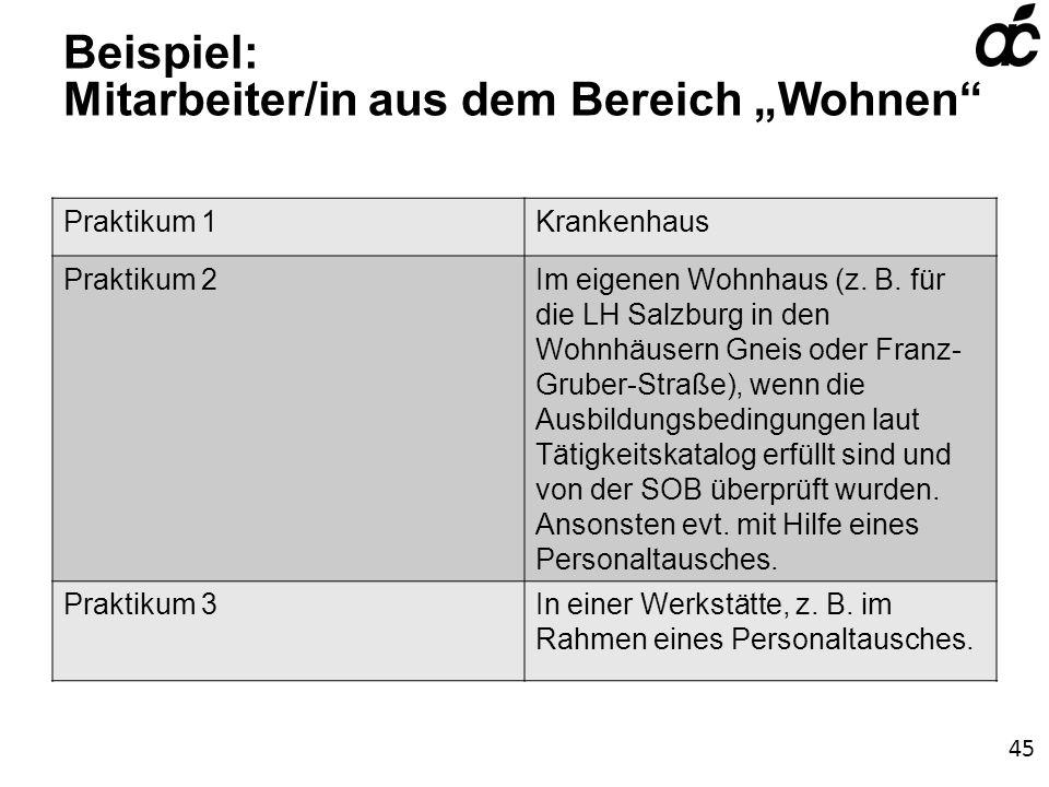 Beispiel: Mitarbeiter/in aus dem Bereich Wohnen Praktikum 1Krankenhaus Praktikum 2Im eigenen Wohnhaus (z.