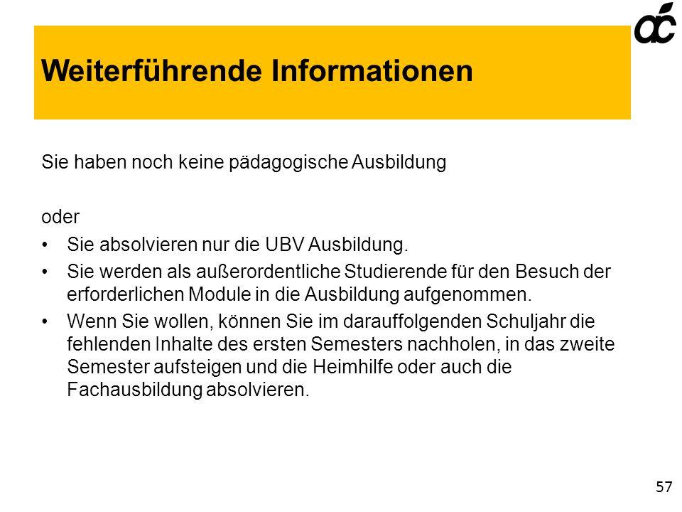 Weiterführende Informationen Sie haben noch keine pädagogische Ausbildung oder Sie absolvieren nur die UBV Ausbildung.