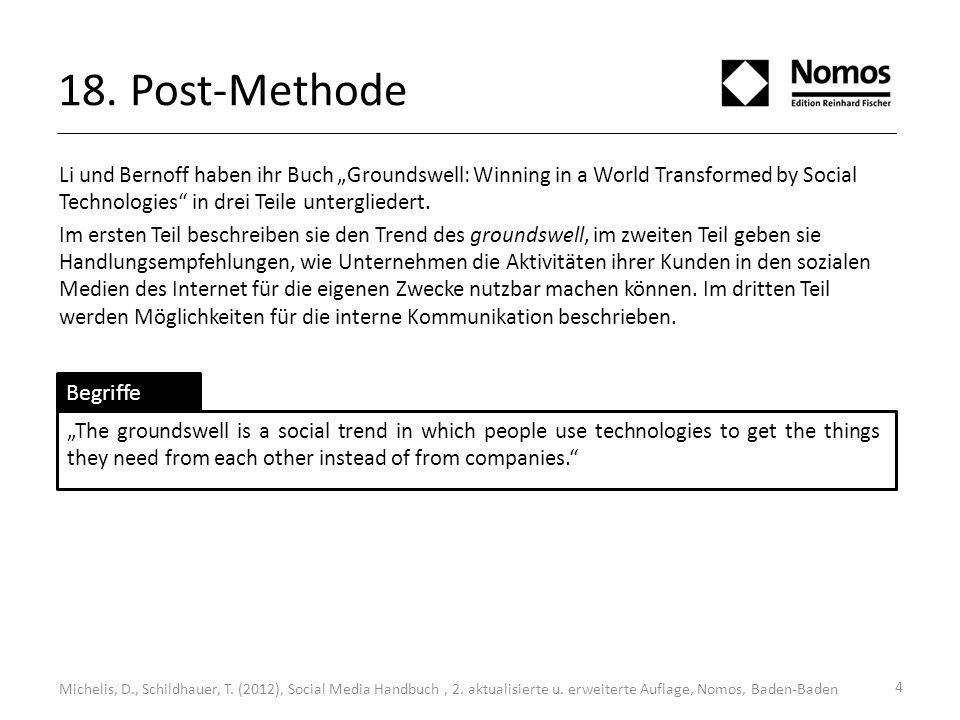 18. Post-Methode Li und Bernoff haben ihr Buch Groundswell: Winning in a World Transformed by Social Technologies in drei Teile untergliedert. Im erst