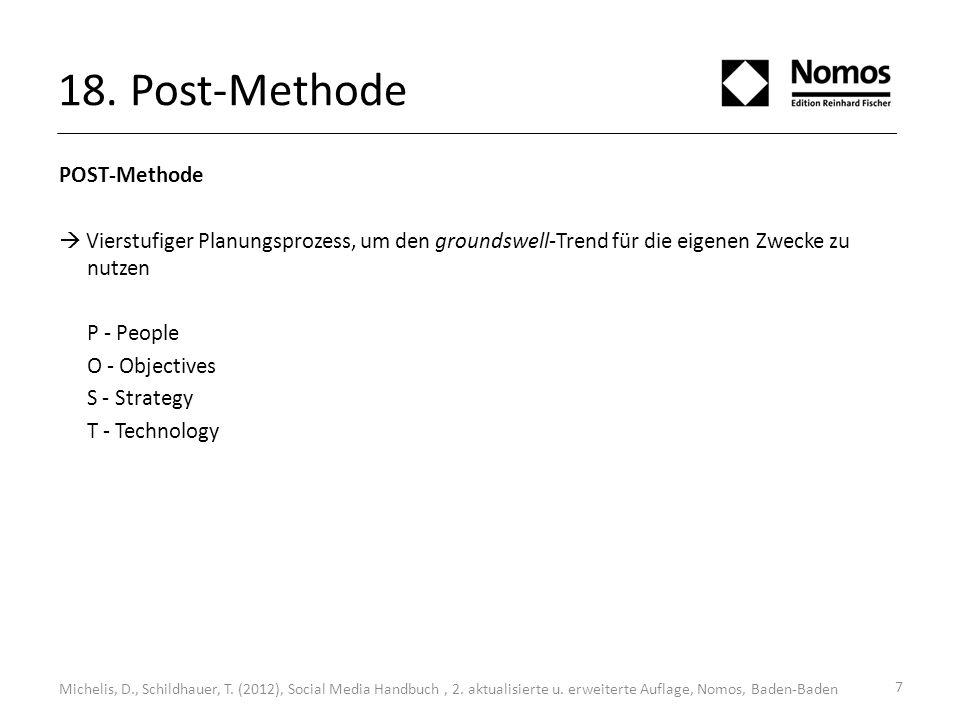 7 18. Post-Methode POST-Methode Vierstufiger Planungsprozess, um den groundswell-Trend für die eigenen Zwecke zu nutzen P - People O - Objectives S -