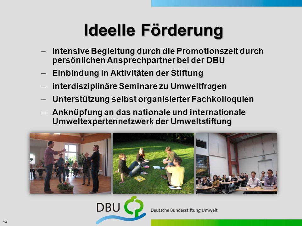 14 Ideelle Förderung –intensive Begleitung durch die Promotionszeit durch persönlichen Ansprechpartner bei der DBU –Einbindung in Aktivitäten der Stif