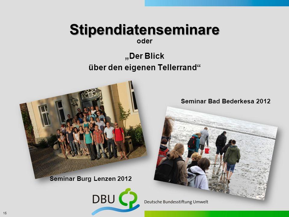 15 Stipendiatenseminare Der Blick über den eigenen Tellerrand oder Seminar Burg Lenzen 2012 Seminar Bad Bederkesa 2012