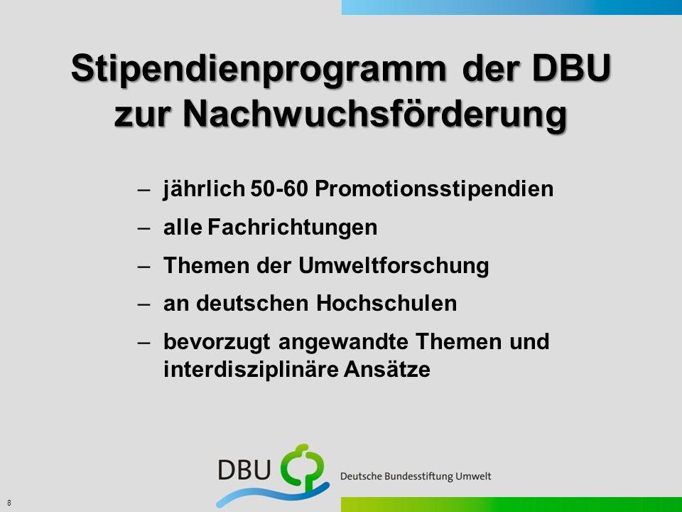 8 –jährlich 50-60 Promotionsstipendien –alle Fachrichtungen –Themen der Umweltforschung –an deutschen Hochschulen –bevorzugt angewandte Themen und int