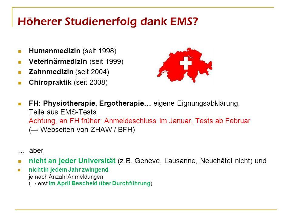 Höherer Studienerfolg dank EMS? Humanmedizin (seit 1998) Veterinärmedizin (seit 1999) Zahnmedizin (seit 2004) Chiropraktik (seit 2008) FH: Physiothera