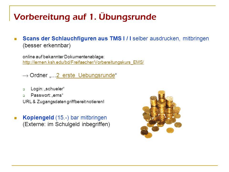 Vorbereitung auf 1. Übungsrunde Scans der Schlauchfiguren aus TMS I / I selber ausdrucken, mitbringen (besser erkennbar) online auf bekannter Dokument