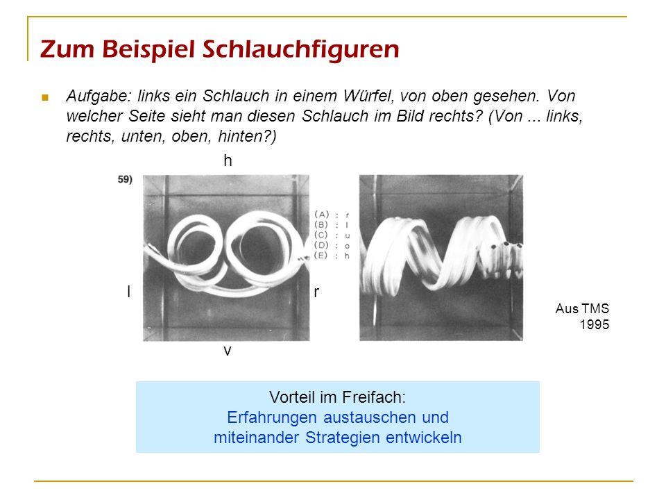 Zum Beispiel Schlauchfiguren Aufgabe: links ein Schlauch in einem Würfel, von oben gesehen. Von welcher Seite sieht man diesen Schlauch im Bild rechts