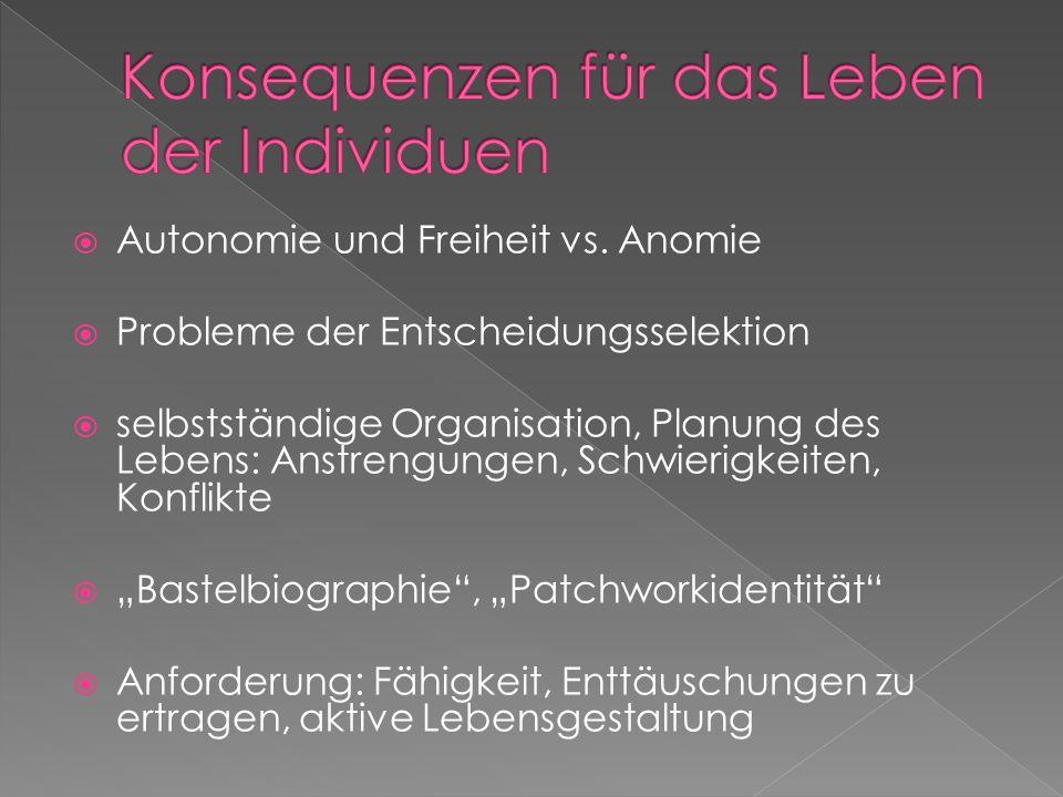 Autonomie und Freiheit vs. Anomie Probleme der Entscheidungsselektion selbstständige Organisation, Planung des Lebens: Anstrengungen, Schwierigkeiten,