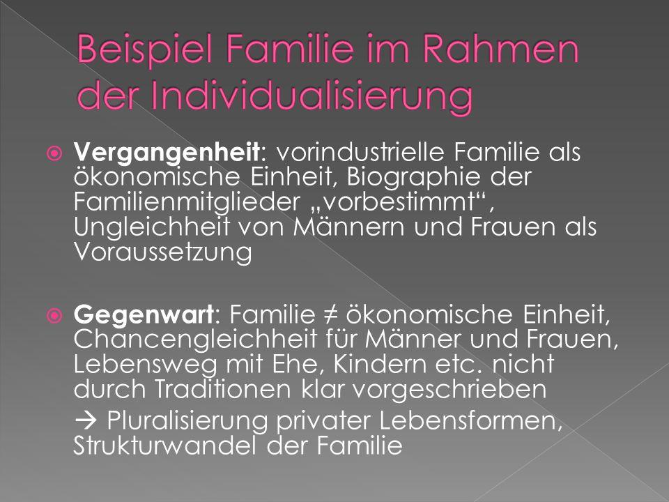 Vergangenheit : vorindustrielle Familie als ökonomische Einheit, Biographie der Familienmitglieder vorbestimmt, Ungleichheit von Männern und Frauen al