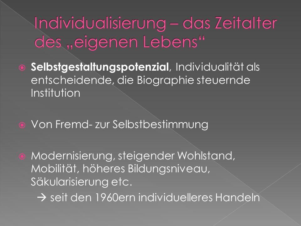 Selbstgestaltungspotenzial, Individualität als entscheidende, die Biographie steuernde Institution Von Fremd- zur Selbstbestimmung Modernisierung, ste