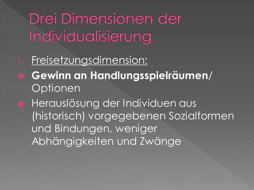 1. Freisetzungsdimension: Gewinn an Handlungsspielräumen / Optionen Herauslösung der Individuen aus (historisch) vorgegebenen Sozialformen und Bindung