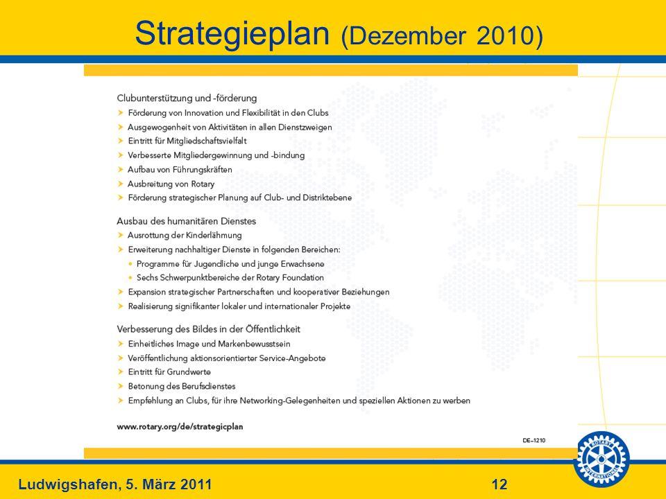 12Ludwigshafen, 5. März 2011 Strategieplan (Dezember 2010)
