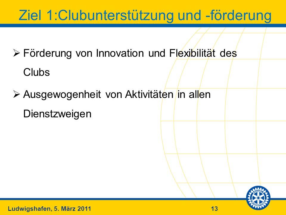 13Ludwigshafen, 5. März 2011 Ziel 1:Clubunterstützung und -förderung Förderung von Innovation und Flexibilität des Clubs Ausgewogenheit von Aktivitäte