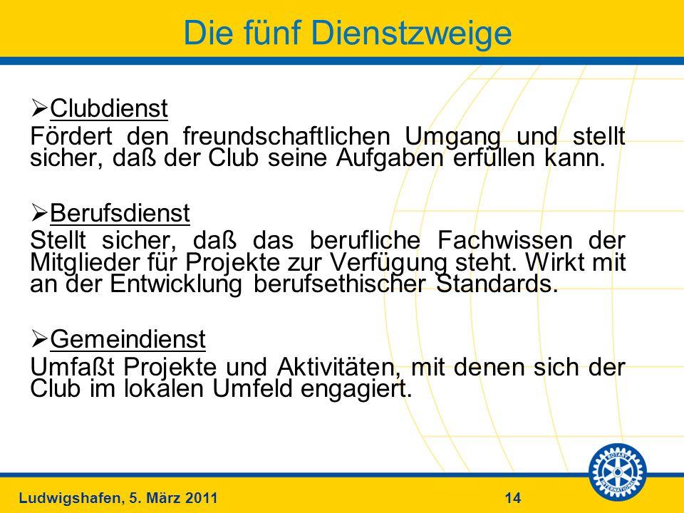 14Ludwigshafen, 5. März 2011 Die fünf Dienstzweige Clubdienst Fördert den freundschaftlichen Umgang und stellt sicher, daß der Club seine Aufgaben erf