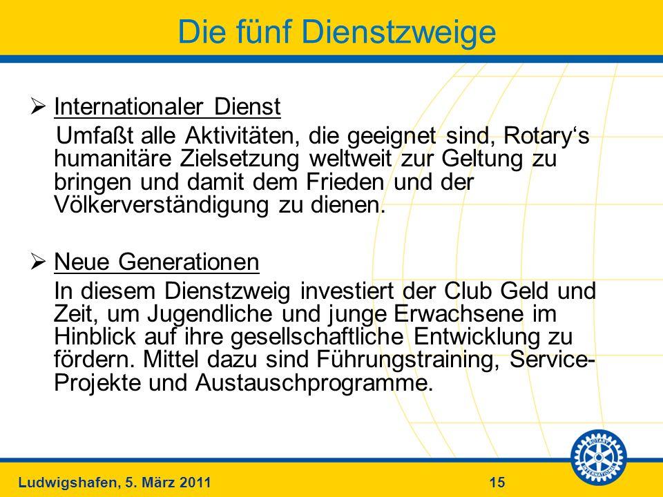 15Ludwigshafen, 5. März 2011 Die fünf Dienstzweige Internationaler Dienst Umfaßt alle Aktivitäten, die geeignet sind, Rotarys humanitäre Zielsetzung w