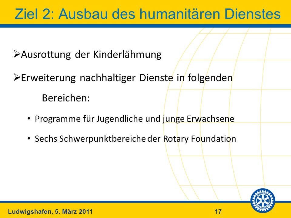 17Ludwigshafen, 5. März 2011 Ziel 2: Ausbau des humanitären Dienstes Ausrottung der Kinderlähmung Erweiterung nachhaltiger Dienste in folgenden Bereic